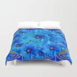 CERALIAN BLUE HOLLYHOCKS ART DECO ABSTRACT Duvet Cover