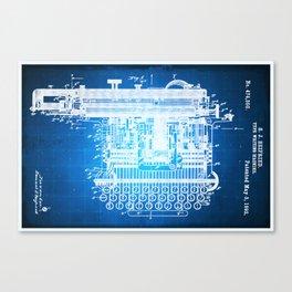 Type Writing Machine Patent Blueprint Drawing Canvas Print