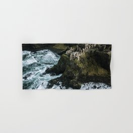 Castle ruin by the irish sea - Landscape Photography Hand & Bath Towel