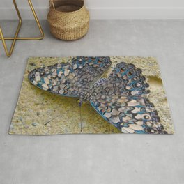 Turquoise and Sand Butterfly by Teresa Thompson Rug