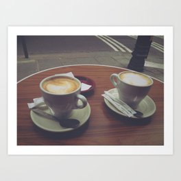 Parisian Coffee Date, Lattes for Two Art Print