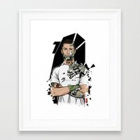 real madrid Framed Art Prints featuring Football Legends Cristiano Ronaldo Real Madrid Robot by Akyanyme
