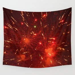 Red Fireworks Wall Tapestry