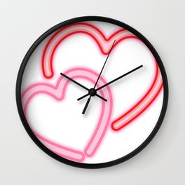 Neon Hearts Wall Clock