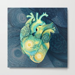Anatomical Human Heart - Starry Night Inspired Metal Print