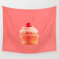 mandie manzano Wall Tapestries featuring Cupcake Love   Pink with a Cherry on Top by Mandie Marie