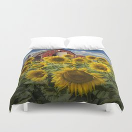 Golden Blooming Sunflowers with Red Barn Duvet Cover