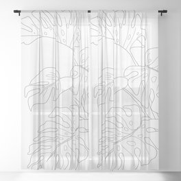 Line Art Monstera Leaves Sheer Curtain