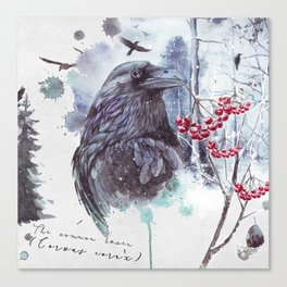 Ravens Abstract Watercolor Splash Winter Forest Scene Canvas Print