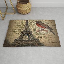 I love Paris Shabby chic Robin French Scripts Jubilee Crown Vintage Paris Eiffel Tower Rug