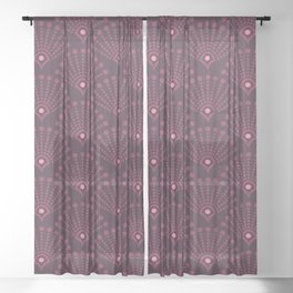 Vintage Art Deco pattern- Wine red dot dot dot Sheer Curtain