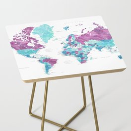 """Purple and turquoise watercolor world map with cities, """"Blair"""" Side Table"""