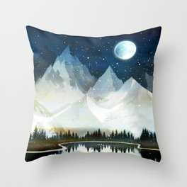Mountain Lake Under the Starlight Throw Pillow