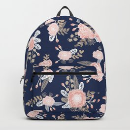Floral bouquet pastel navy pink florals painted painted metallic pattern basic minimal pattern print Backpack