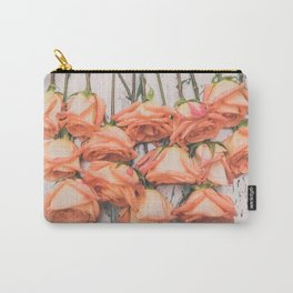 Peach Roses Left Hanging Carry-All Pouch