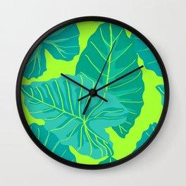 Giant Elephant Ear Leaves in Neon Lime Green Wall Clock