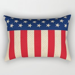 USA faux burlap flag Rectangular Pillow