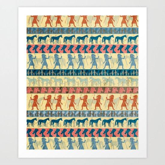 Egyptian Unicorn Pattern Art Print