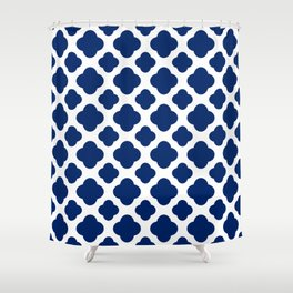 Royal Blue Quatrefoil Shower Curtain