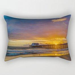 Lone Seagull at Sunset - Newport Pier Rectangular Pillow