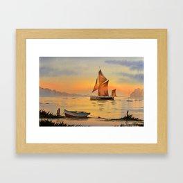 Thames Barge At Sunset Framed Art Print