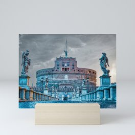 Sunrise over Ponte Sant'Angelo and Castel Sant'Angelo in Rome, Italy Mini Art Print