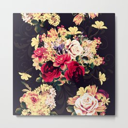 Roses and lilac. Beautiful victorian design Metal Print
