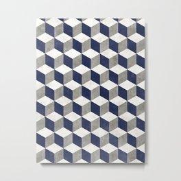 Geometric Cube Pattern - Concrete Gray, White, Blue Metal Print
