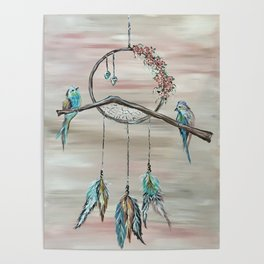 Dream Catcher with Birds and Flowers Poster