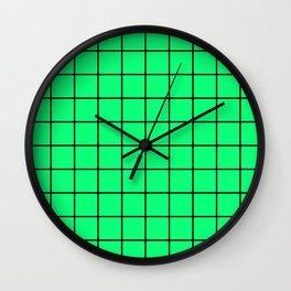 Acid Green and Black Grid - more colors Wall Clock