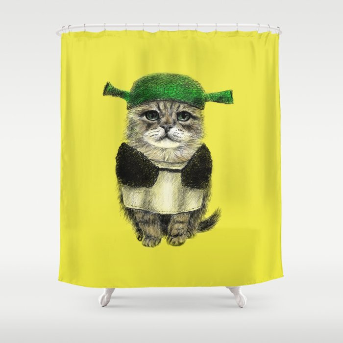 Shreky Cat Shower Curtain
