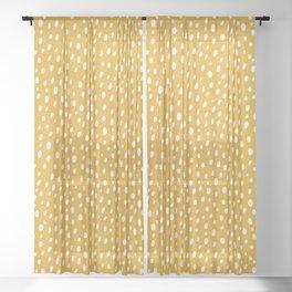 Yellow Polka Dot Spotted Pattern Abstract Print Dots Sheer Curtain