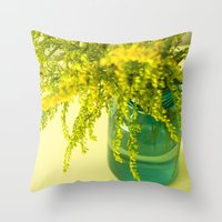 golden Throw Pillows featuring Golden by Olivia Joy StClaire