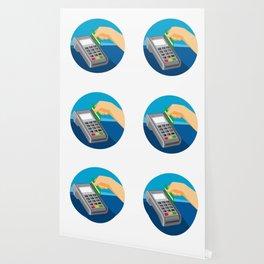 Hand Swiping Credit Card on POS Terminal Retro Wallpaper