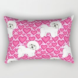 Bichon Frise Valentines Day Hearts in pink and red // Ideal valentines gift for Bichon Mom Rectangular Pillow