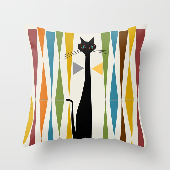 Mid-Century Modern Art Cat 2 Throw Pillow