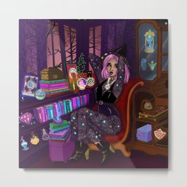 Witch Reading Nook Metal Print
