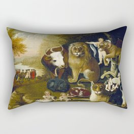 Classical Masterpiece 1833 'A Peaceable Kingdom' by Edward Hicks Rectangular Pillow