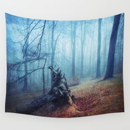 Silent Sadness - Fall Forest in Fog Wall Tapestry
