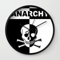 anarchy Wall Clocks featuring ANARCHY SKULL by shannon's art space