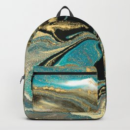 Marble Glitter Gold Fluid Painting Pouring Jupiter Surface Glamorous Shiny Metallic Accents Backpack