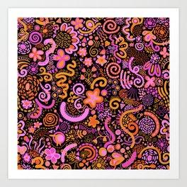 Pink Orange Yellow Zendoodle Art Print