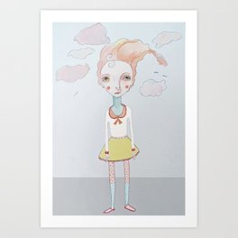 Cotton Candy Head in the Clouds Art Print