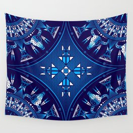 buffalo Gathering blue Wall Tapestry
