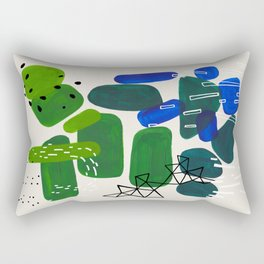 Fun Mid Century Modern Abstract Minimalist Green Blue Ombre Gradient Organic Shapes Rectangular Pillow