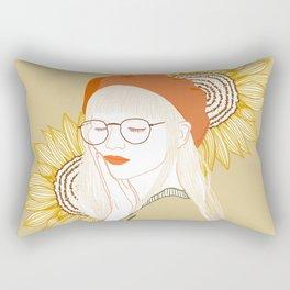Sunflower Girl with Glasses Rectangular Pillow