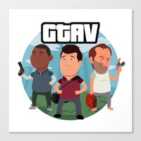 grand theft auto Canvas Prints featuring Grand Theft Auto V Cartoon by Aaron Lecours