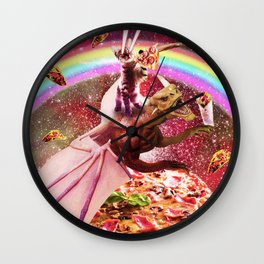 Laser Eyes Outer Space Cat Riding Dragon Wall Clock