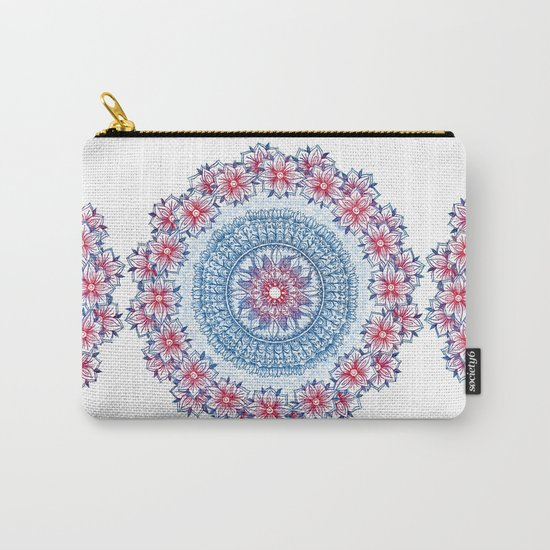 Red, Blue & White Floral Medallion Carry-All Pouch