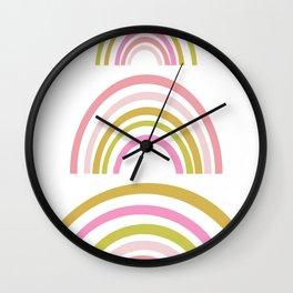 Pink and Green Rainbows Wall Clock